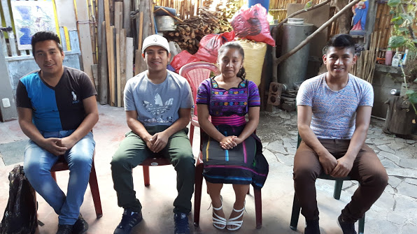Josue, Francisco, Juana and Pablo, scholarship students